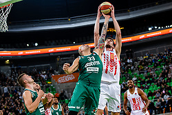Ognjen Kuzmić of KK Crvena Zvezda MTS and Maik Zirbes of KK Cedevita Olimpija during ABA basketball league round 9 match between teams KK Cedevita Olimpija and KK Crvena Zvezda MTS in Arena Stozice, 1. December, 2019, Ljubljana, Slovenia. Photo by Grega Valancic / Sportida