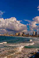 The Mediterranean Sea and the coastline of Tel Aviv, Israel.