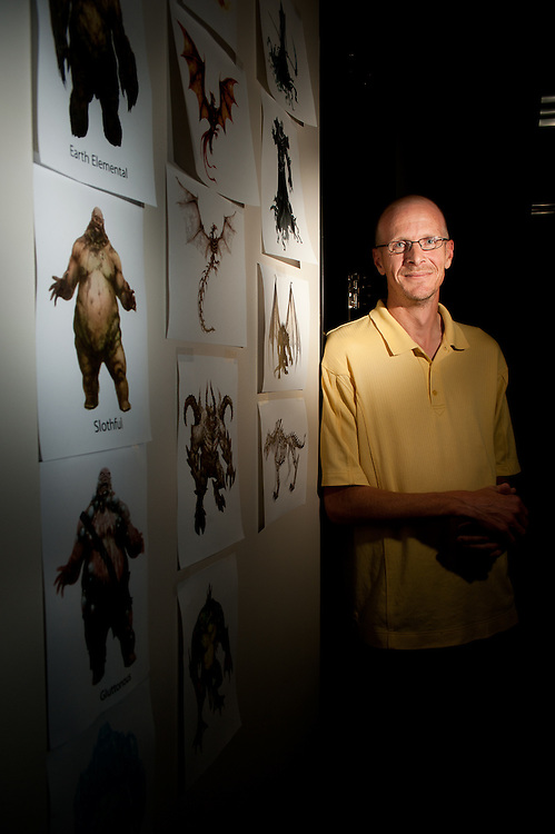 Mark Matson for American-Statesman (10/20/10) UTV True Games, a gaming development studio, recently relocated its headquarters to Austin.  The company is currently working on an online game that will debut early next year. Mike Madden, Creative Director, stands next to some character drawings.