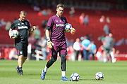 West Ham United goalkeeper Adrian (13) warms up before the Premier League match between Arsenal and West Ham United at the Emirates Stadium, London, England on 22 April 2018. Picture by Bennett Dean.