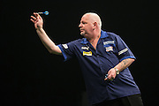 Robert Thornton during the Premier League Darts  at the Motorpoint Arena, Cardiff, Wales on 31 March 2016. Photo by Shane Healey.