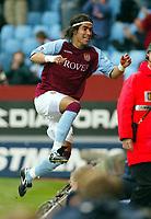 Photograph: Scott Heavey.<br />Aston Villa v Blackburn Rovers. FA Baclaycard Premiership. 05/10/2003.<br />Juan Angel celebrates scoring Villa's equaliser
