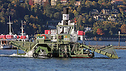 dredging ship at Lake Como, Italy
