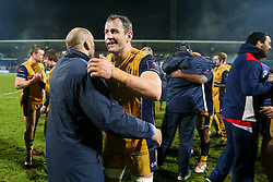 Giorgi Nemsadze of Bristol Rugby celebrates after Bristol Rugby win the game 18-28 - Rogan Thomson/JMP - 16/12/2016 - RUGBY UNION - Stade du Hameau - Pau, France - Pau v Bristol Rugby - EPCR Challenge Cup.
