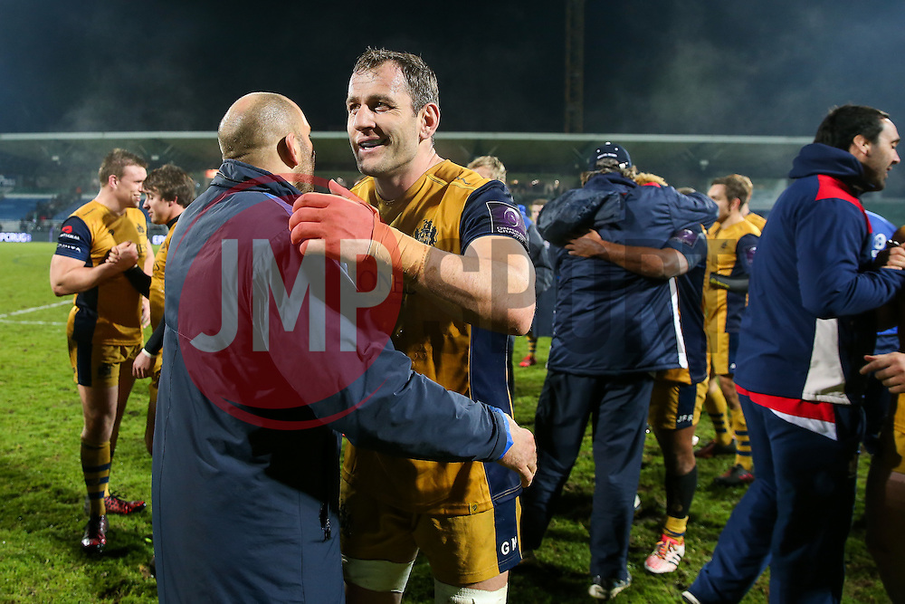 Giorgi Nemsadze of Bristol Rugby celebrates after Bristol Rugby win the game 18-28 - Rogan Thomson/JMP - 16/12/2016 - RUGBY UNION - Stade du Hameau - Pau, France - Pau v Bristol Rugby - EPCR Challenge Cup.