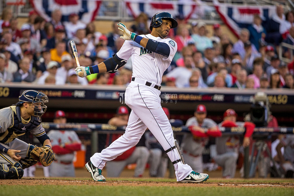 MINNEAPOLIS, MN- JULY 15: American League All-Star Robinson Cano #24 of the Seattle Mariners during the 85th MLB All-Star Game at Target Field on July 15, 2014 in Minneapolis, Minnesota. (Photo by Brace Hemmelgarn) *** Local Caption *** Robinson Cano