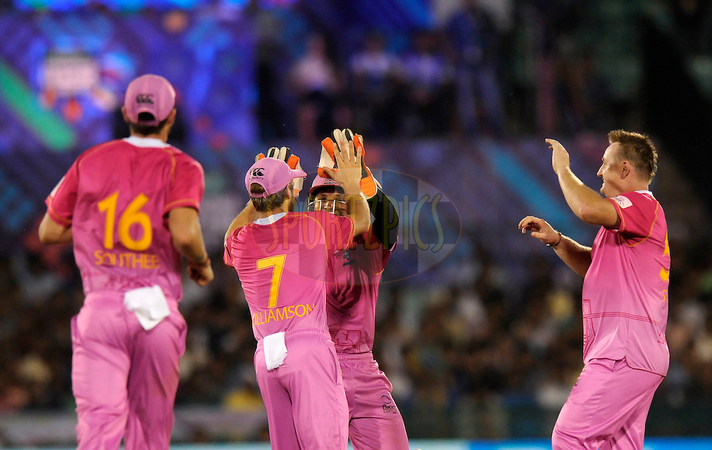 Scott Styris of Northern Knights celebrates the wicket of Jalaj Saxena of Mumbai Indians during the qualifier 5 match of the Oppo Champions League Twenty20 between the Southern Express and the Lahore Lions held at the Chhattisgarh International Cricket Stadium, Raipur, India on the 16th September 2014<br /> <br /> Photo by:  Pal Pillai / Sportzpics/ CLT20<br /> <br /> <br /> Image use is subject to the terms and conditions as laid out by the BCCI/ CLT20.  The terms and conditions can be downloaded here:<br /> <br /> http://sportzpics.photoshelter.com/gallery/CLT20-Image-Terms-and-Conditions-2014/G0000IfNJn535VPU/C0000QhhKadWcjYs