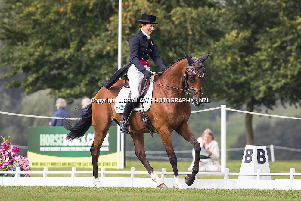 NZL-Annabel Wigley (COTSWOLD) INTERIM-49TH: CIC3* 8&9YO: FIRST DAY OF DRESSAGE: 2014 GBR-Blenheim Palace International Horse Trial (Thursday 11 September) CREDIT: Libby Law COPYRIGHT: LIBBY LAW PHOTOGRAPHY - NZL