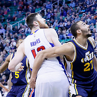 25 January 2016: Utah Jazz center Rudy Gobert (27) vies for the rebound with Detroit Pistons center Aron Baynes (12) during the Detroit Pistons 95-92 victory over the Utah Jazz, at the Vivint Smart Home Arena, Salt Lake City, Utah, USA.