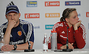 England's coach Jason Lee with Captain Kate Richardson-Walsh in the press conference after defeat to ~South Africa in their Pool B game in the Rabobank Hockey World Cup at the GrenFields Stadium, Den Haag, Netherlands, 6th June 2014.