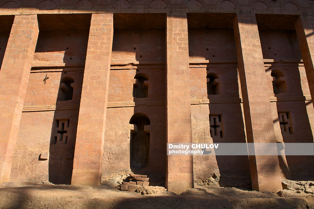 Columns of the rock-hewn church in Lalibela, Ethiopia. UNESCO World heritage site