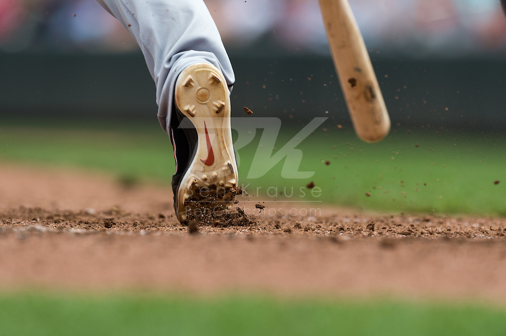A close up view of the cleat of Gerald Laird (9) of the Detroit Tigers as he runs out of the batter's box during a game against the Minnesota Twins on August 15, 2012 at Target Field in Minneapolis, Minnesota.  The Tigers defeated the Twins 5 to 1.  Photo: Ben Krause
