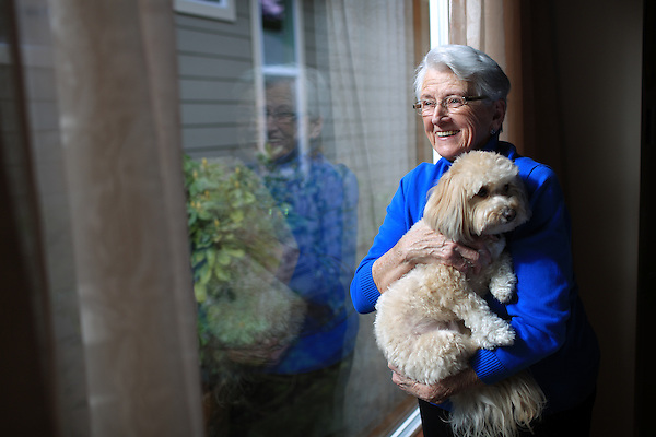 March 16th, 2016- Joan Long  '54 Seattle University College of Nursing alum with her dog Sonny. Long started the Joan S Emerson Long Endowed Scholarship Fund for Seattle U nursing students in their junior year.