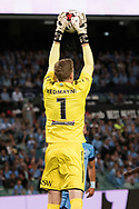 SYDNEY, NSW- NOVEMBER 21: Sydney FC goalkeeper Andrew Redmayne (1) saves a goal at the FFA Cup Final Soccer between Sydney FC and Adelaide United on November 21, 2017 at Allianz Stadium, Sydney. (Photo by Steven Markham/Icon Sportswire)