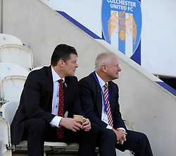 Bristol City manager, Steve Cotterill and majority shareholder of Bristol City, Steve Lansdown look on before the game at Colchester United - Photo mandatory by-line: Dougie Allward/JMP - Mobile: 07966 386802 22/03/2014 - SPORT - FOOTBALL - Colchester - Colchester Community Stadium - Colchester United v Bristol City - Sky Bet League One