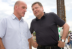 Coach of NK Olimpija Brane Oblak and Majyor of Ljubljana Zoran Jankovic at open door day 1 year before opening of new football stadium and sports hall in Stozice,  on June 30, 2009, at Stadium Stozice, Ljubljana, Slovenia. (Photo by Vid Ponikvar / Sportida)