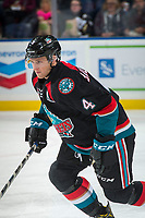 KELOWNA, CANADA - OCTOBER 4: Gordie Ballhorn #4 of the Kelowna Rockets warms up against the Victoria Royals on October 4, 2017 at Prospera Place in Kelowna, British Columbia, Canada.  (Photo by Marissa Baecker/Shoot the Breeze)  *** Local Caption ***