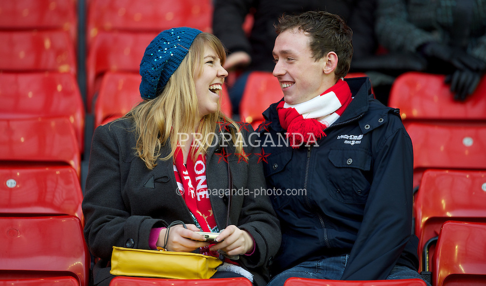 LIVERPOOL, ENGLAND - Saturday, December 10, 2011: Liverpool fans before the Premiership match between Liverpool and Queens Park Rangers at Anfield. (Pic by David Rawcliffe/Propaganda)
