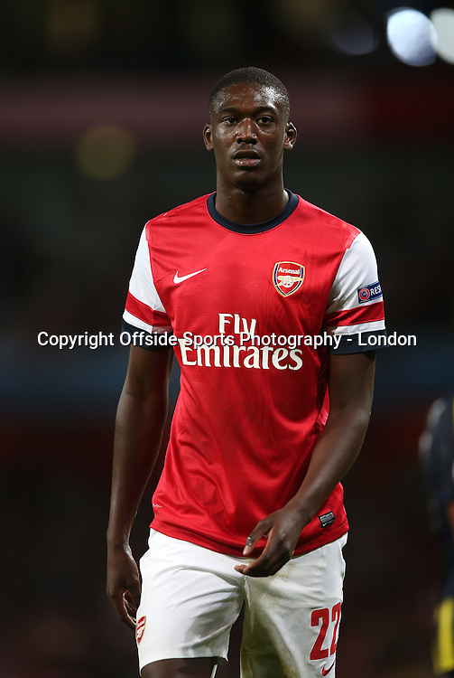 27 August 2013 - Champions League Qualifying - Arsenal v Fenerbahce -<br /> Yaya Sanogo.<br /> Photo: Mark Leech