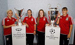 CARDIFF, WALES - Saturday, August 20, 2016: Wales Nadia Lawrence, Bethan Lloyd, Chloe Lloyd and Gemma Evans with the UEFA Champions League & Women's Champions League Trophies at the Vale Resort. The UEFA Champions League finals take place in Cardiff in May 2017. (Pic by David Rawcliffe/Propaganda)