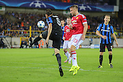 Claudemir of Club Brugge clears under pressure from Luke Shaw of Manchester United during the Champions League Qualifying Play-Off Round match between Club Brugge and Manchester United at the Jan Breydel Stadion, Brugge, Belguim on 26 August 2015. Photo by Phil Duncan.