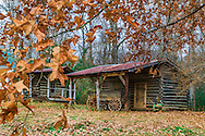 Autumn leaves provide a scenic backdrop for one of the rustic barns located in the French Camp historic village. (Photo by Carmen K. Sisson/Cloudybright)
