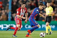 FC Barcelona's Denis Suarez (r) and Atletico de Madrid's Koke Resurrecccion during Spanish Kings Cup semifinal 2nd leg match. February 07,2017. (ALTERPHOTOS/Acero)