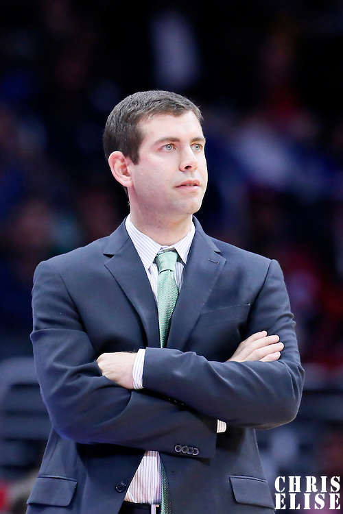 19 January 2015: Boston Celtics head coach Brad Stevens is seen during the Los Angeles Clippers 102-93 victory over the Boston Celtics, at the Staples Center, Los Angeles, California, USA.