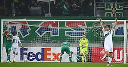 10.10.2016, Weststadion, Wien, AUT, UEFA EL, SK Rapid Wien vs US Sassuolo Calcio, Gruppe F, im Bild Maximilian Hofmann (SK Rapid Wien), Alessandro Matri (US Sassuolo Calcio), Thomas Schrammel (SK Rapid Wien), Richard Strebinger (SK Rapid Wien) und Pol Lirola (US Sassuolo Calcio) nach dem Eigentor von Thomas Schrammel (SK Rapid Wien) // during a UEFA Europa League group F match between SK Rapid Vienna and US Sassuolo Calcio at the Weststadion, Vienna, Austria on 2016/10/20. EXPA Pictures © 2016, PhotoCredit: EXPA/ Thomas Haumer