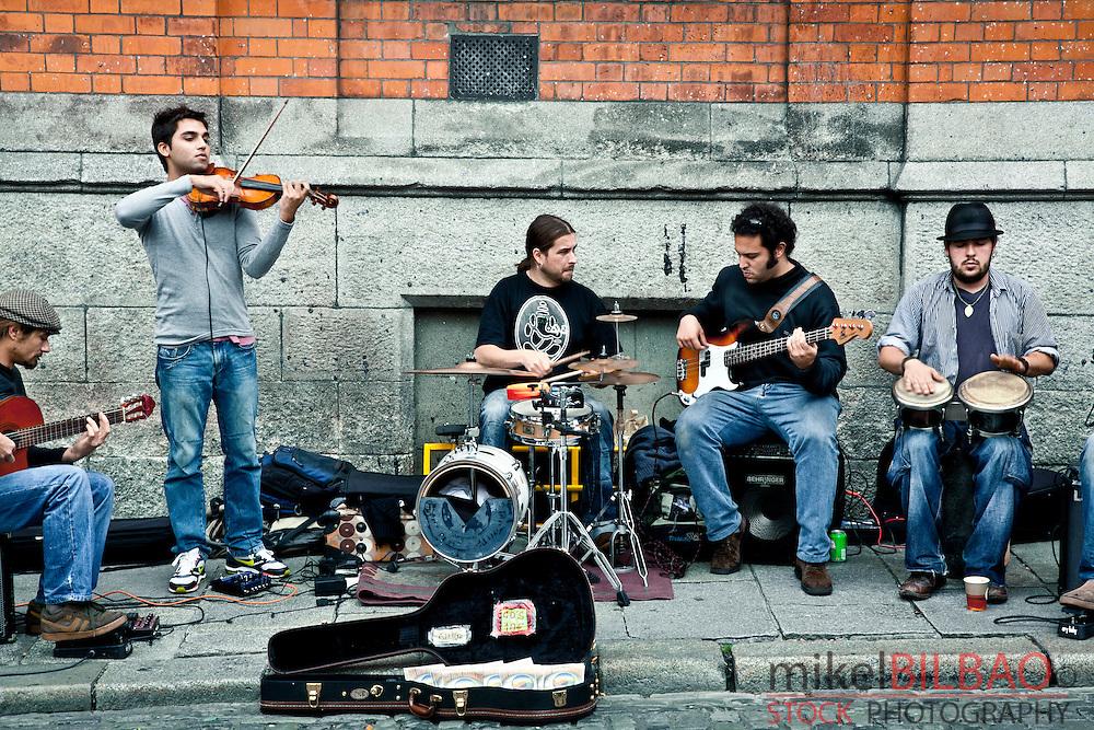 street musicians.<br /> Dublin. Ireland.