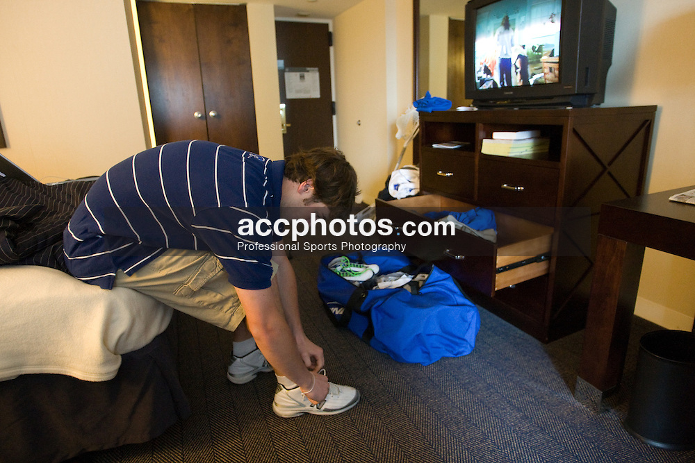 24 May 2008: Duke Blue Devils at their hotel before playing the Johns Hopkins Blue Jays at Gillette Stadium during the NCAA Semifinals in Foxborough, MA.