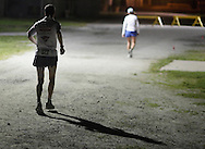 Augusta, New Jersey - Competitors run laps at night during the 3 Days at the Fair races at Sussex County Fairgrounds on May 15, 2010.