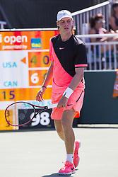March 26, 2018 - Key Biscayne, FL, USA - Denis Shapovalov during the Miami Open tennis tournament in Key Biscayne, Fla., Monday, March 26, 2018. (Credit Image: © Daniel A. Varela/TNS via ZUMA Wire)