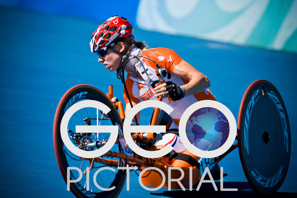 Monique van der Vorst of The Netherlands in the women's hand cycling time trial road race during the Beijing 2008 Paralympic Games; China 12th September 2008;