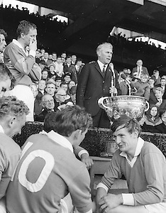 All Ireland Senior Football Championship Final, Kerry v Offaly, 28.09.1969, 09.28.1969, 28th September 1969, Kerry 0-10 Offaly 0-7, 28091969AISFCF, Referee  J Moloney (Tipperary) Captain J Culloty,..Kerry Captain J Culloty and team mates rejoice in their victory as GAA President Seamus O' Riain addresses the thousands of fans,