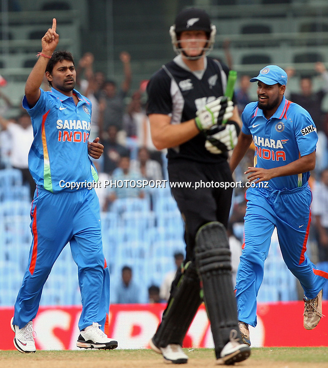 Indian bowler Praveen Kumar celebrates New Zealand batsman Martin guptill wicket during the India vs New Zealand 5th ODI Played at MA Chidambaram Stadium, Chepauk, Chennai, 10 December 2010 - day/night (50-over match)