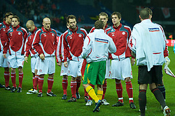 COPENHAGEN, DENMARK - Wednesday, November 19, 2008: Wales' captain Craig Bellamy shakes hands with his former Liverpool team-mate Denmark's Daniel Agger during the international friendly match at the Brøndby Stadium. (Photo by David Rawcliffe/Propaganda)