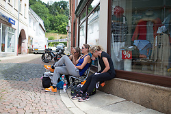 Ellen van Dijk (NED) of Team Netherlands shares a screen with her teammates before Stage 5 of the Lotto Thuringen Ladies Tour - a 108.3 km road race, starting and finishing in Greiz on July 17, 2017, in Thuringen, Germany. (Photo by Balint Hamvas/Velofocus.com)