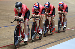 Team Breeze (left-right) Abigail Dentus, Jessica Roberts, Rebecca Raybould and Jenny Holl, on their way to qualifying 1st in the Women's Team Pursuit, during day two of the HSBC UK National Track Championships at The National Cycling Centre, Manchester.