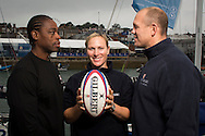 Image licensed to Lloyd Images - Free for editorial use<br /> The 2015 Artemis Challenge as part of Aberdeen Asset Management Cowes Week 2015. Cowes. Isle of Wight. Pictures of (left to right) Serge Betsen, Zara Phillips and Mike Tindall Credit: Lloyd Images