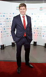 LIVERPOOL, ENGLAND - Tuesday, May 19, 2015: Liverpool's captain Steven Gerrard arrives on the red carpet for the Liverpool FC Players' Awards Dinner 2015 at the Liverpool Arena. (Pic by David Rawcliffe/Propaganda)
