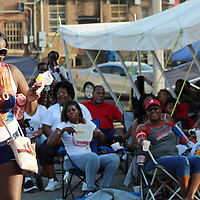 """Marcedes Scott of Louisville, Kentucky, left, line dances to """"The Git Up"""" between a fashion show and live performance at The Taste of Aberdeen Family Reunion Friday."""