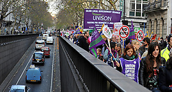 © Licensed to London News Pictures. 30/11/2011, London, UK. The march passes up Kingsway, London. Up to two million public sector workers are staging a strike over pensions in what is set to be the biggest walkout for a generation. Photo credit : Stephen Simpson/LNP