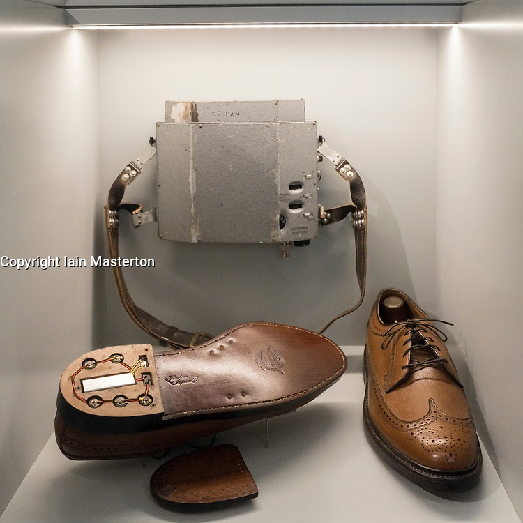 Spying bugs hidden in heel of shoes on display at German Spy Museum in Berlin Germany