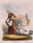 Goose girl with her flock of birds. From 'Graphic Illustrations of Animals and Their Utility to Man', London, c1850.