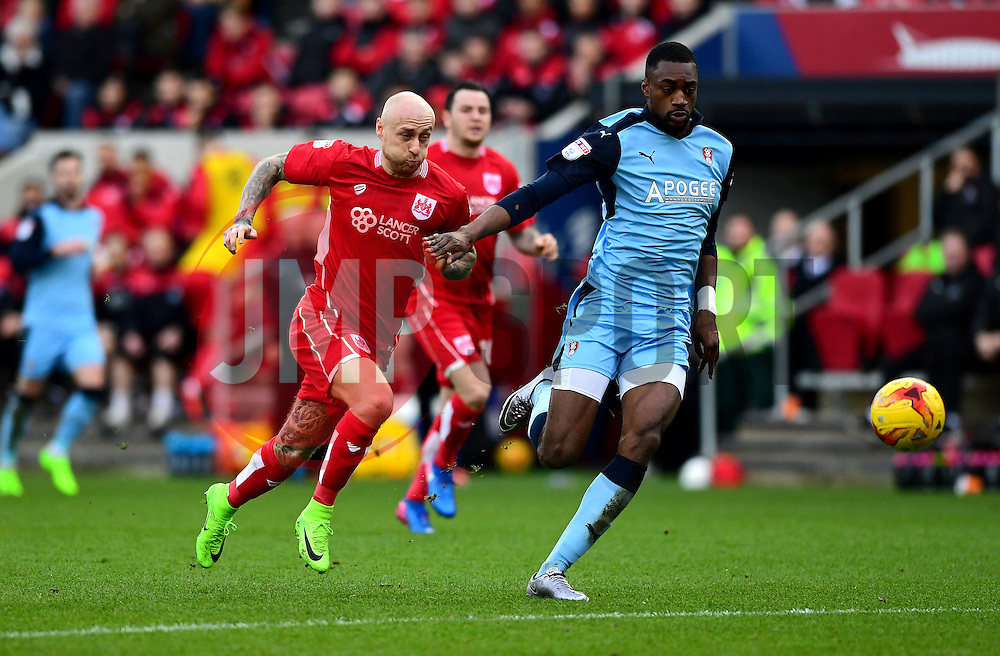 David Cotterill of Bristol City battles for the ball with Semi Ajayi of Rotherham United  - Mandatory by-line: Joe Meredith/JMP - 04/02/2017 - FOOTBALL - Ashton Gate - Bristol, England - Bristol City v Rotherham United - Sky Bet Championship