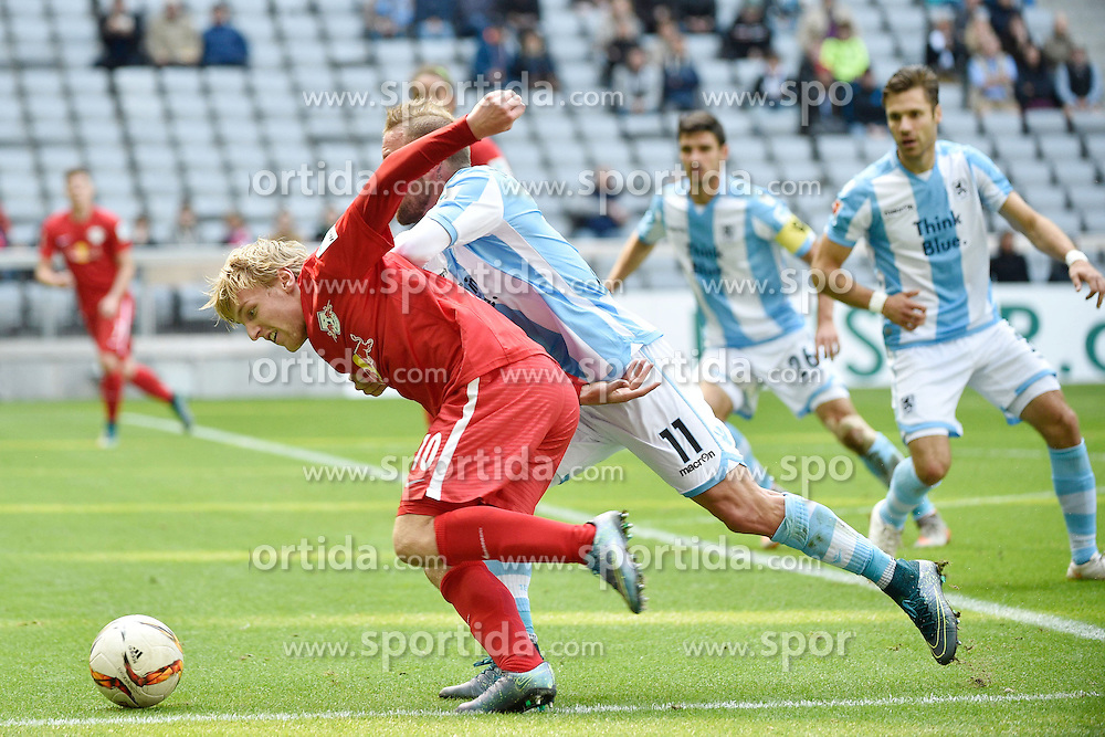 27.09.2015, Allianz Arena, Muenchen, GER, 2. FBL, TSV 1860 Muenchen vs RB Leipzig, 9. Runde, im Bild Emil Forsberg (RasenBallsport Leipzig e.&nbsp;V), Daniel Adlung (TSV 1860 Muenchen), v.li. #, // during the 2nd German Bundesliga 9th round match between TSV 1860 Munich vs RB Leipzig at the Allianz Arena in Muenchen, Germany on 2015/09/27. EXPA Pictures &copy; 2015, PhotoCredit: EXPA/ Eibner-Pressefoto/ Buthmann<br /> <br /> *****ATTENTION - OUT of GER*****