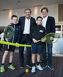 LIVERPOOL, ENGLAND - Thursday, April 19, 2018: Former Liverpool footballer Alan Kennedy and tournament director Anders Boug with Anthony Hardman (L) and Joseph Evans before a press event at the Hilton Hotel for the launch of the 2018 Liverpool International Tennis Tournament, which will be held at Liverpool Cricket Club 21st to 24th June. (Pic by Jason Roberts/Propaganda)