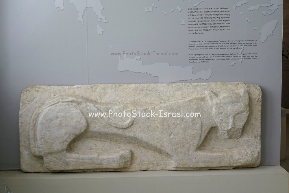 Sarcophagus adorned with a lion at the Archaeological Museum of Thasos is a museum located in Limenas on the island of Thasos, East Macedonia, Greece