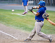 MIDDLETOWN, CT - 09 AUGUST 2010 -.East Longmeadow Post 293's Kyle DiFranco hits a fly ball hit during Monday's American Legion Northeast Regional Tournament Championship game against Branford Post 83 at Palmer Field in Middletown. East Longmeadow lost, 2-1..Photo by Josalee Thrift